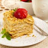 Ptysiowego ciasta Napoleon tort Obraz Stock