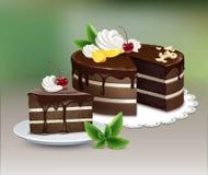 Ptysiowy czekoladowy tort royalty ilustracja