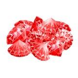 Puñado aislado de rubíes rojos Juego desing Foto de archivo libre de regalías