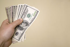 Puñado de dinero Foto de archivo libre de regalías
