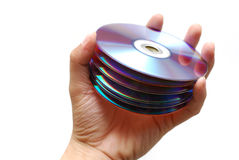 Puñado de DVDs Fotografía de archivo libre de regalías