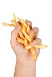 Puñado de patatas fritas Imagenes de archivo