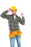 Puño de apretón sonriente del trabajador manual fotos de archivo libres de regalías
