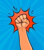 Puño para arriba apretado aumentado dibujado en estilo cómico retro del arte pop Ilustración del vector de la historieta ilustración del vector