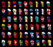 Puños del indicador nacional de Europa Imagen de archivo libre de regalías
