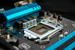 Può usare come priorità bassa Tecnologia di hardware elettronica Chip digitale della scheda madre Priorità bassa moderna di tecno fotografia stock libera da diritti