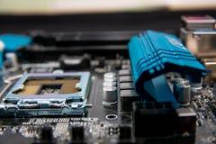 Può usare come priorità bassa Tecnologia di hardware elettronica Chip digitale della scheda madre Priorità bassa moderna di tecno fotografia stock