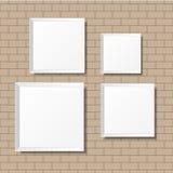 Puści biali plakaty na ściana z cegieł Puste kanwy realistyczny Obraz Royalty Free
