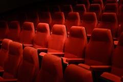 Puści czerwoni kin krzesła Ciemny brzmienie Zdjęcia Royalty Free