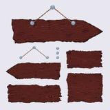 Puści drewniani znaki (wieszać i zmrok) Obraz Stock