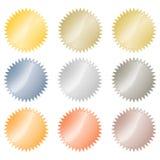Puści glansowani wektorowi majchery w złocie, czerwony złoto, platyna, srebro, brąz, groszak, aluminium Co może używać jako monet Fotografia Royalty Free