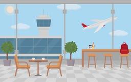 Puści kawiarnia stoły w lotnisku Zdjęcie Stock