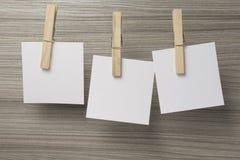 Puści nutowi papiery wiązali z clothespins na arkanie Zdjęcie Stock