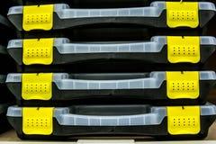 Puści plastikowi toolboxes zdjęcia royalty free