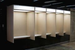 Puści telefonów booths zawierają telefonicznego downlight dla i półkę Fotografia Royalty Free