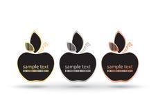 Puści wektor ramy jabłka z miejscem dla teksta na czarnym tle Jabłka z złotem osrebrzają i brązowieją z prętowym kodem na urlopie Zdjęcie Royalty Free