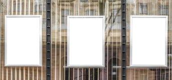 Puści biali plakaty w aluminiowych ramach Obrazy Royalty Free