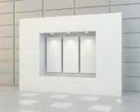 Puści biali plakaty w gablocie wystawowej Obraz Stock