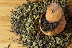 Pu-erh tea aged in tangerine and green tea Stock Photo