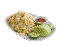 Pu Khao phat, жареные рисы с мясом краба (с путем клиппирования) Стоковое Изображение