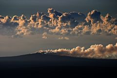 Pu`u `O`o volcano. Smoke rising from the crater of Pu`u `O`o volcano, Hawaii Stock Photo