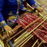 Pua Kumbu, Sarawak, Malaysia. Pua Kumbu is a traditional patterned multicolored ceremonial cotton cloth used by the Iban, made and used in Sarawak, Malaysia Stock Photography