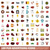 100 pub advertising icons set, flat style. 100 pub advertising icons set in flat style for any design vector illustration Royalty Free Illustration