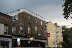 Pub with artwork work. Bethnal green royalty free stock photos