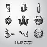 Pub, beer handdrawn icons set. Vector Royalty Free Stock Photos