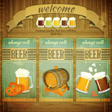 Pub Beer Menu. In Retro Vintage Grunge Style, Set of Labels on Wooden Background. Illustration Royalty Free Stock Photography