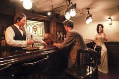 Pub de la figura de cera en museo municipal de la historia de Shangai Imagenes de archivo