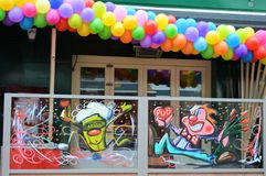 Pub decorated for carnaval party in Eindhoven. Royalty Free Stock Images
