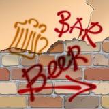 Pub della birra Muro di mattoni Birra di scrittura, barra, puntatore, freccia Pub della birra Fotografia Stock