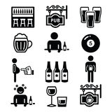 Pub, drinking alcohol, beer belly icons set Stock Photography