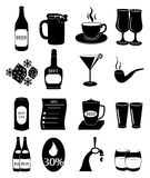 Pub drinking icons set Stock Photography