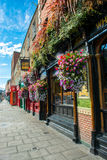 Pub in Dublin in Ireland. Pub with Flowers in Dublin in Ireland Royalty Free Stock Photography
