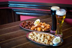 Pub food and beer Royalty Free Stock Images