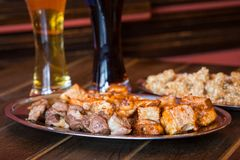 Pub food and beer Stock Image