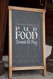 Pub Food Menu. In Doorway Stock Photo