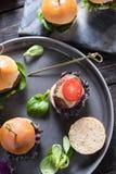 Pub food, mini beef burgers Royalty Free Stock Photography