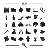 Pub, food, sport and other web icon in black style.equipment, crime, party icons in set collection. Royalty Free Stock Image
