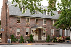 1747 pub. Historic tavern, main street Annapolis MD, two story colonial brick façade with barn like roof line. Four blocks from marina and Chesapeake Bay royalty free stock photo