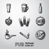 Pub, iconos handdrawn de la cerveza fijados Vector Fotos de archivo libres de regalías