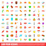100 pub icons set, cartoon style Stock Image
