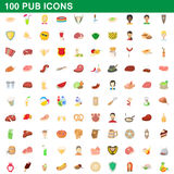 100 pub icons set, cartoon style Royalty Free Stock Photos