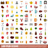 100 pub icons set, flat style Royalty Free Stock Photos