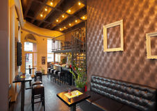 Pub interior. Interior of a pub with furniture during day royalty free stock image