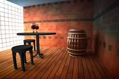 Pub interior with barrel and table Stock Images