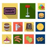 Pub, interior and equipment flat icons in set collection for design. Alcohol and food vector symbol stock web Royalty Free Stock Images