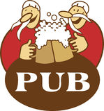 Pub logo. Logo illustration of two men drinking beer from mugs Royalty Free Stock Images